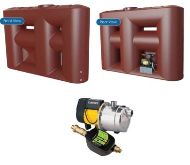 Kingston Water Tanks Package - Melro 3060L Slimline with Davey Rainbank KRB2